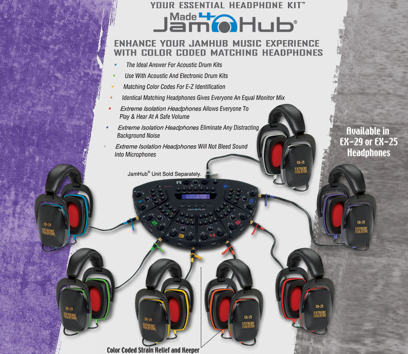 Our JamHub studio kits   color coded to match the JamHub systems  sold  separately   give everyone in your home or professional studio a  high quality. Alat Band   Passive Isolation Monitor Headphones   Extreme
